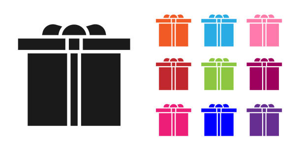 Black Gift box icon isolated on white background. Happy Birthday. Set icons colorful. Vector Illustration Black Gift box icon isolated on white background. Happy Birthday. Set icons colorful. Vector Illustration anniversary clipart stock illustrations