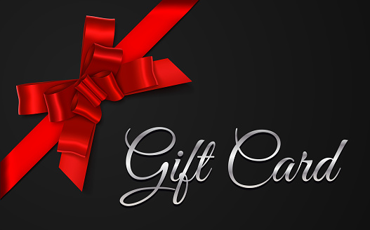 Black Gift Card with Red Bow