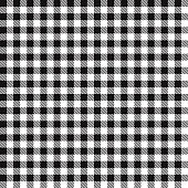 Black color gingham cloth fabric seamless pattern.
