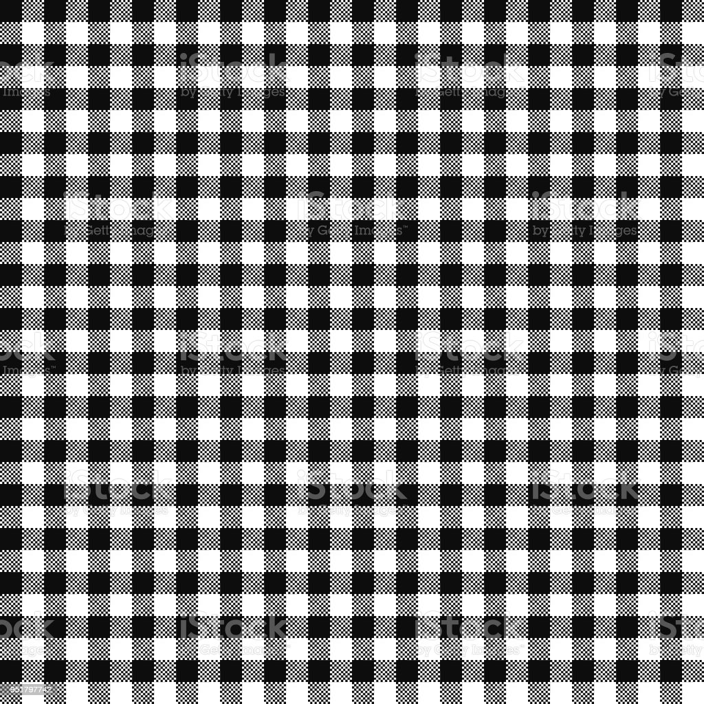 Black Gingham Seamless Pattern vector art illustration