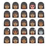 Black Girl Bob Hairstyle Emoticons Cartoon Vector Illustration