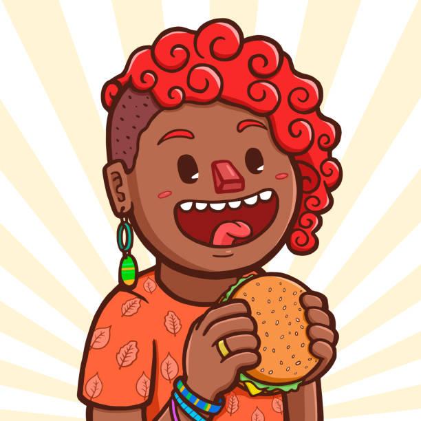 Black girl eating hamburger Vector illustration of a black girl preparing to eat hamburger hungry child stock illustrations