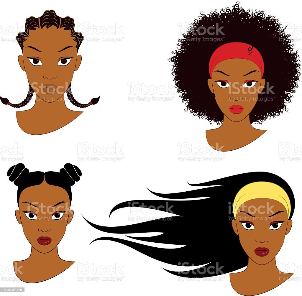 Black Girl Hair Styles vector art illustration