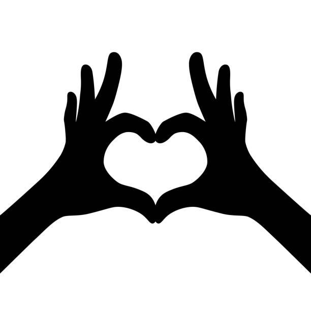 illustrazioni stock, clip art, cartoni animati e icone di tendenza di black girl hands making heart - mano donna dita unite