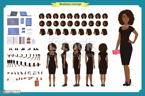Black Girl in evening dress character creation set. Party woman in black trendy luxury gown. Full length, different views, gestures. Build your own design. Cartoon flat-style infographic illustration