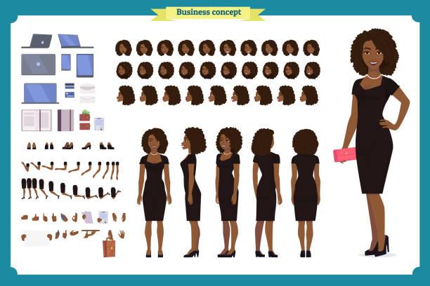 illustrazioni stock, clip art, cartoni animati e icone di tendenza di black girl in evening dress character creation set. party woman in black trendy luxury gown. full length, different views, gestures. build your own design. - personaggio