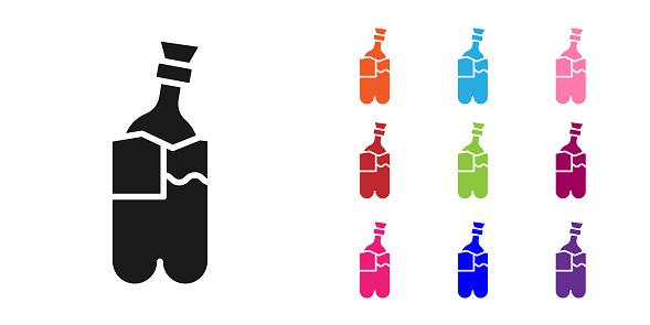 Black Glass bong for smoking marijuana or cannabis icon isolated on white background. Set icons colorful. Vector Illustration
