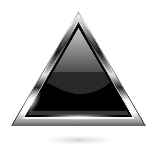 黑色玻璃按鈕。3d 閃亮的三角形圖示向量藝術插圖
