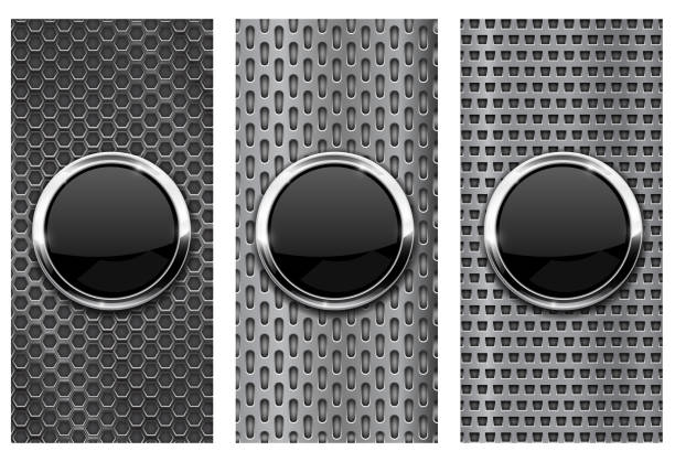 Black glass button on metal perforated background. Set of brochure templates Black glass button on metal perforated background. Set of brochure templates. Vector 3d illustration brushed metal stock illustrations