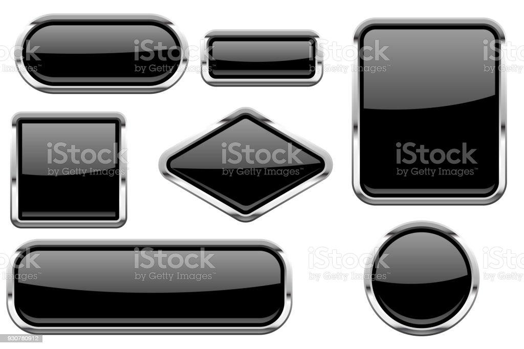 Ilustración de Botones De Cristal Negro Con Marco Cromado Conjunto ...