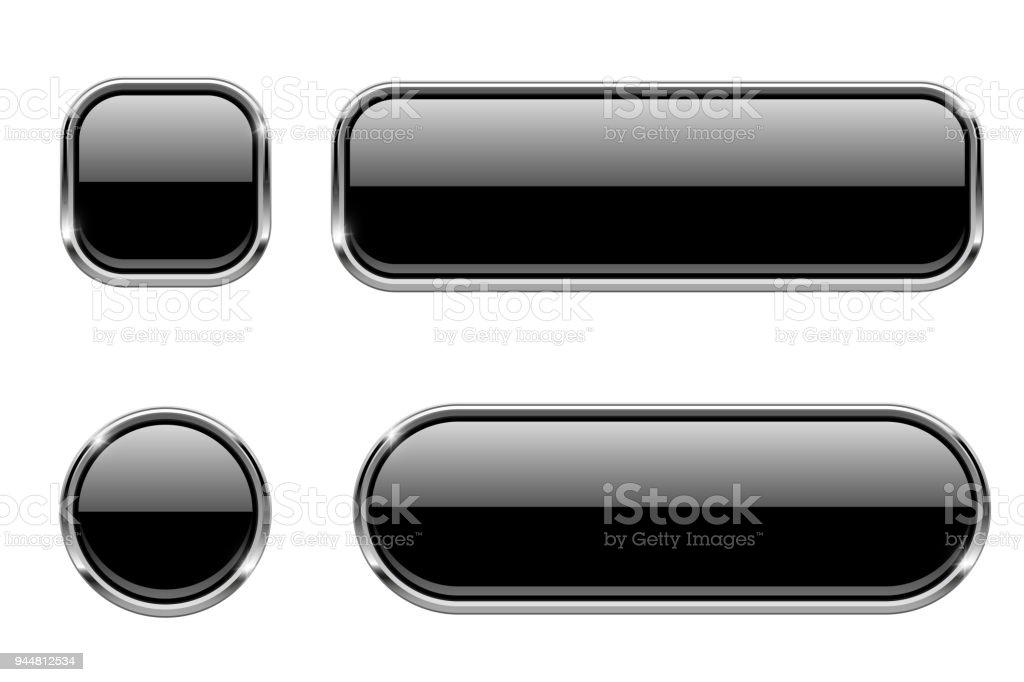 Ilustración de Botones De Cristal Negro Con Marco Cromado 3d ...