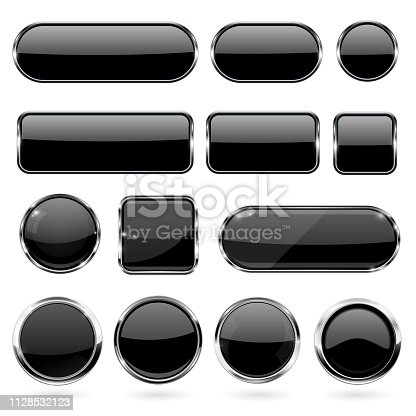 Black glass buttons with metal frame. Collection of 3d icons. Vector illustration isolated on white background