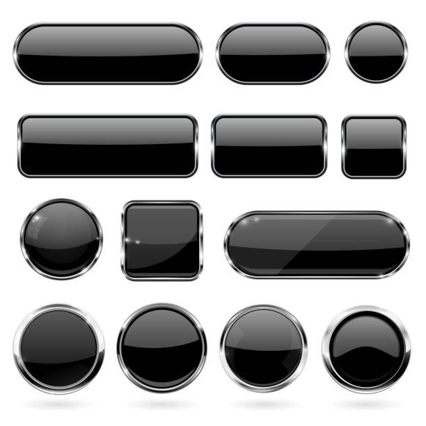 黑色玻璃按鈕與金屬框架。3d 圖示的集合向量藝術插圖