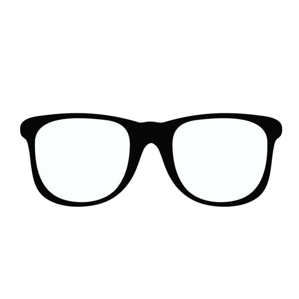 schwarze brille symbol auf weißem element für design, lager vektor-illustration - brille stock-grafiken, -clipart, -cartoons und -symbole