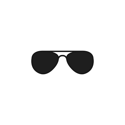 Black glasses. Vector icon illustration.