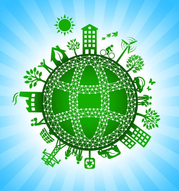 ilustrações de stock, clip art, desenhos animados e ícones de black globe wireframe on green environmental conservation background - wireframe solar power