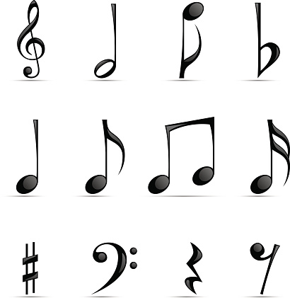 Black Glossy Musical Note