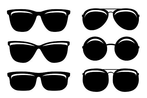 black glossy sunglasses and glasses set icons