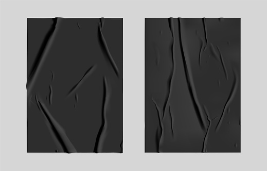 Black glued paper set with wet wrinkled effect on gray background. Black wet paper poster template set with crumpled texture. Realistic vector posters mockup.