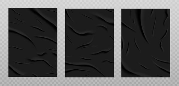 Black glued paper texture, wet wrinkled paper sheets set.