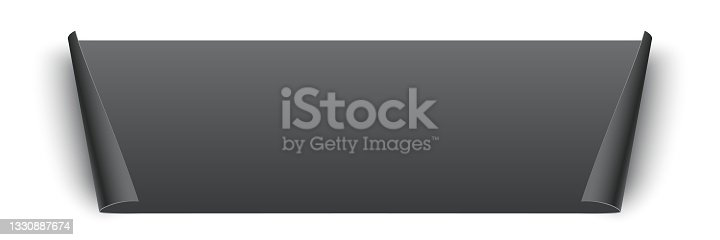 istock Black glued rectangle sticker with curling edges. 3d blank paper label vector illustration. Badge with twisted edge on white background 1330887674
