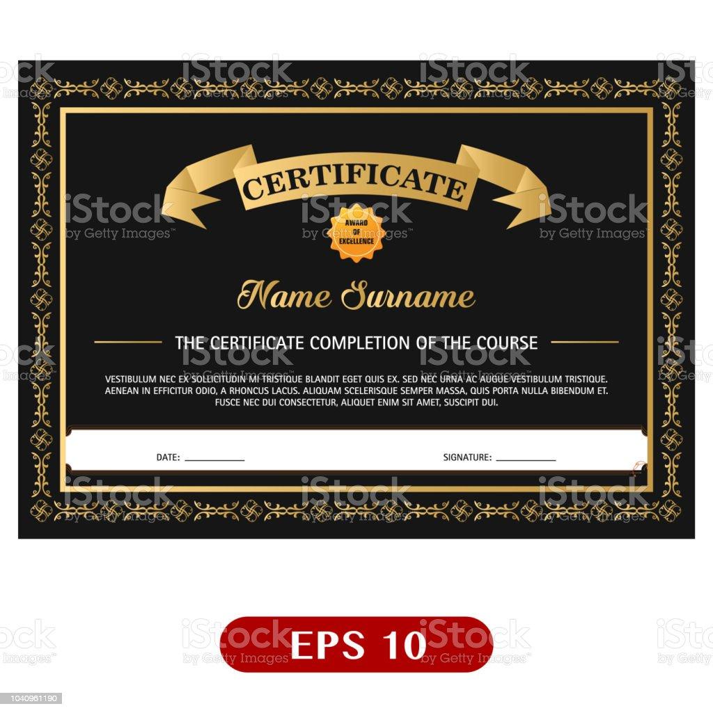 black gold elegant certificate template vector illustration stock