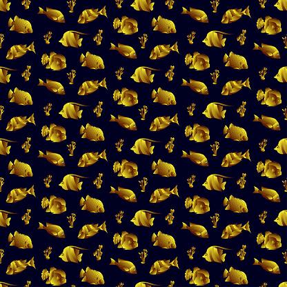 Black Gold Fish Seamless Pattern
