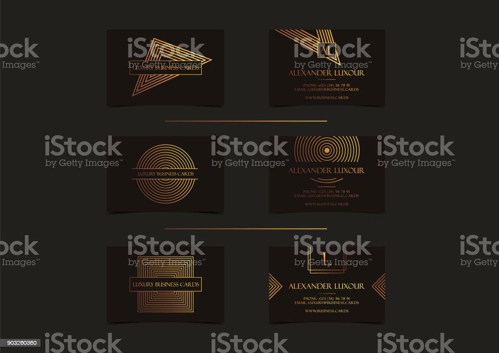 Cartes De Visite Or Noir Luxe Pour Evenement VIP Elegante Carte Voeux Avec Motif