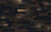 Black gold paper cut background. Abstract multi layered papercut texture. Material design concept with golden halftone pattern. Vector illustration can be used for the design of Black Friday sale
