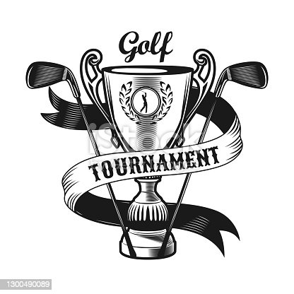 Black golf emblem or sticker vector illustration. Vintage label with golfer on cup and clubs isolated vector illustration. Sport game and championship concept can be used for template