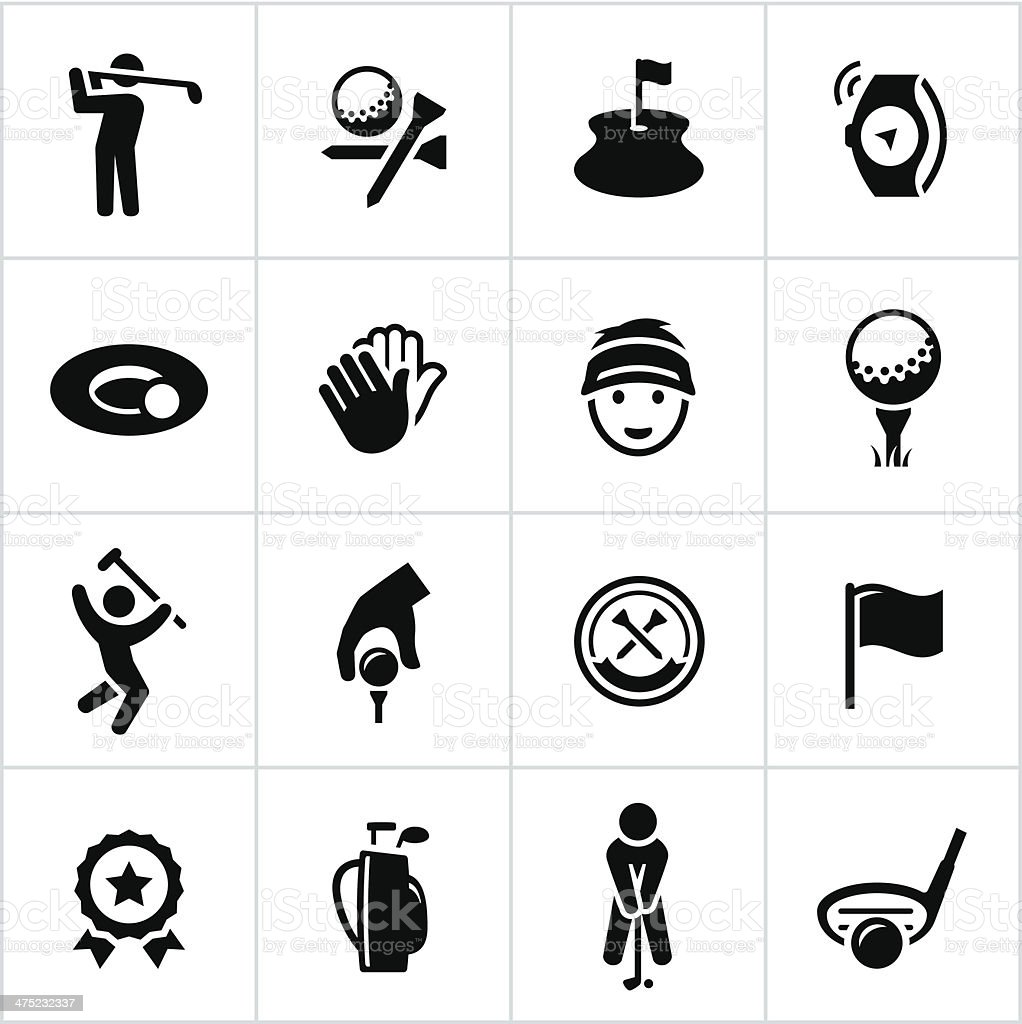Black Golf Icons vector art illustration