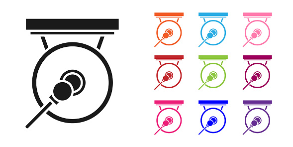 Black Gong musical percussion instrument circular metal disc and hammer icon isolated on white background. Set icons colorful. Vector Illustration