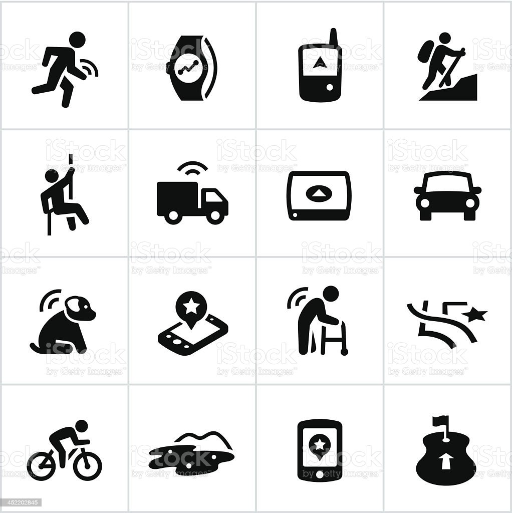 Black GPS Uses Icons royalty-free stock vector art