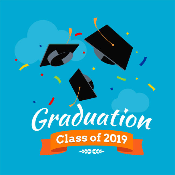 black graduate caps and confetti on the sky background - graduation stock illustrations