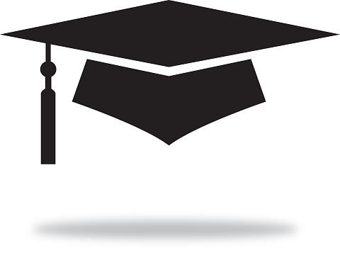 Black Graduation Cap With Shadow