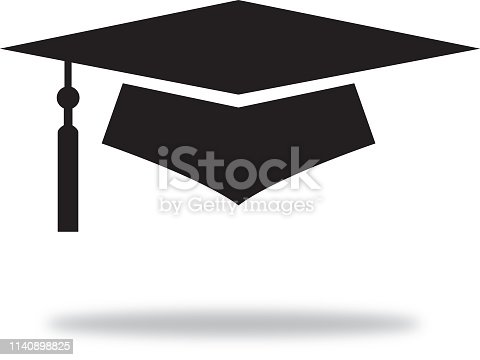 Vector illustration of a black mid-air graduation cap with a shadow beneath it.