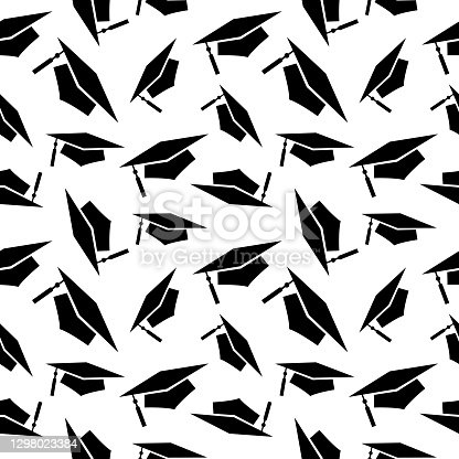 istock Black Graduation Caps Seamless Pattern 1298023384