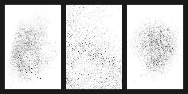 Black grainy texture isolated on white. Black grainy texture isolated on white background. Damaged textured . Grunge design elements. Set vector illustration,eps 10. persistence stock illustrations