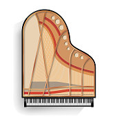 Black Grand Piano Opened Icon Vector With Shadow. Realistic Keyboard. Isolated Illustration