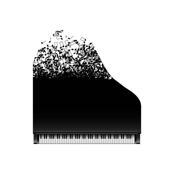siyah piyano notlar uçan ile - piano stock illustrations