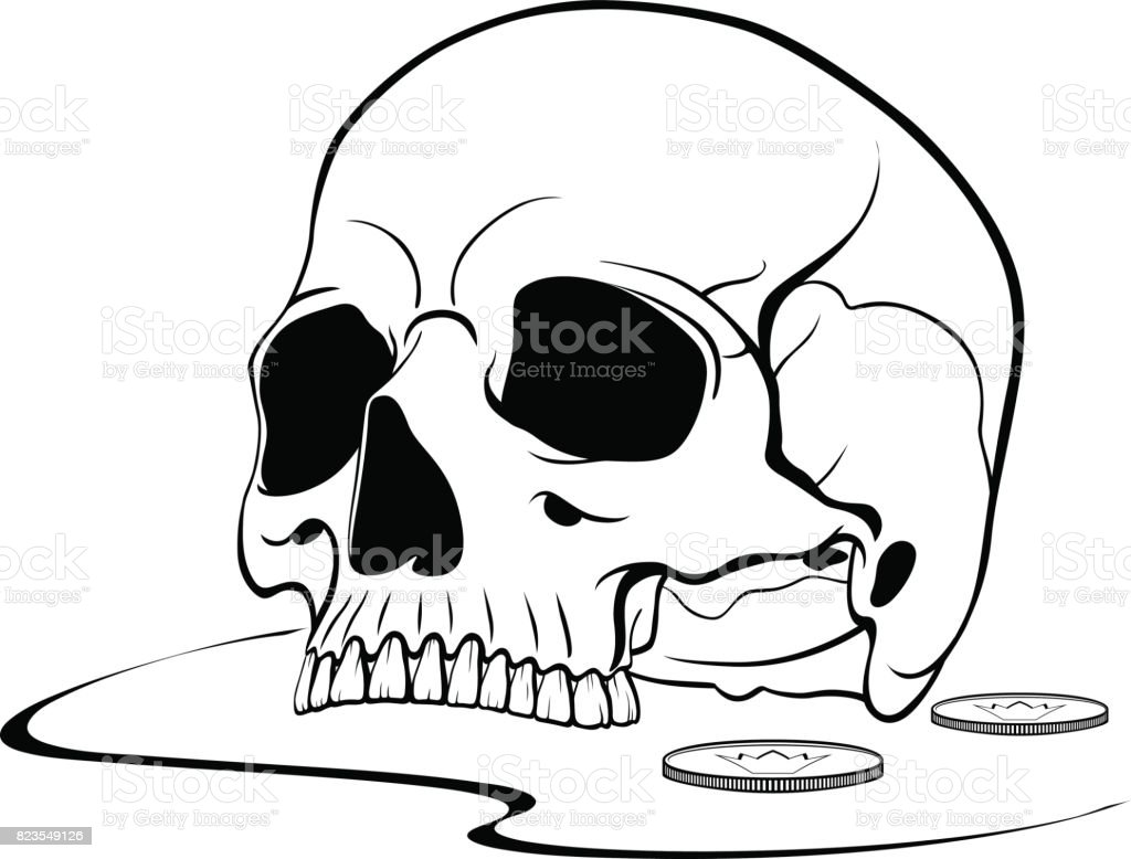 black graphic drawing of the upper part of the human skull royalty free stock