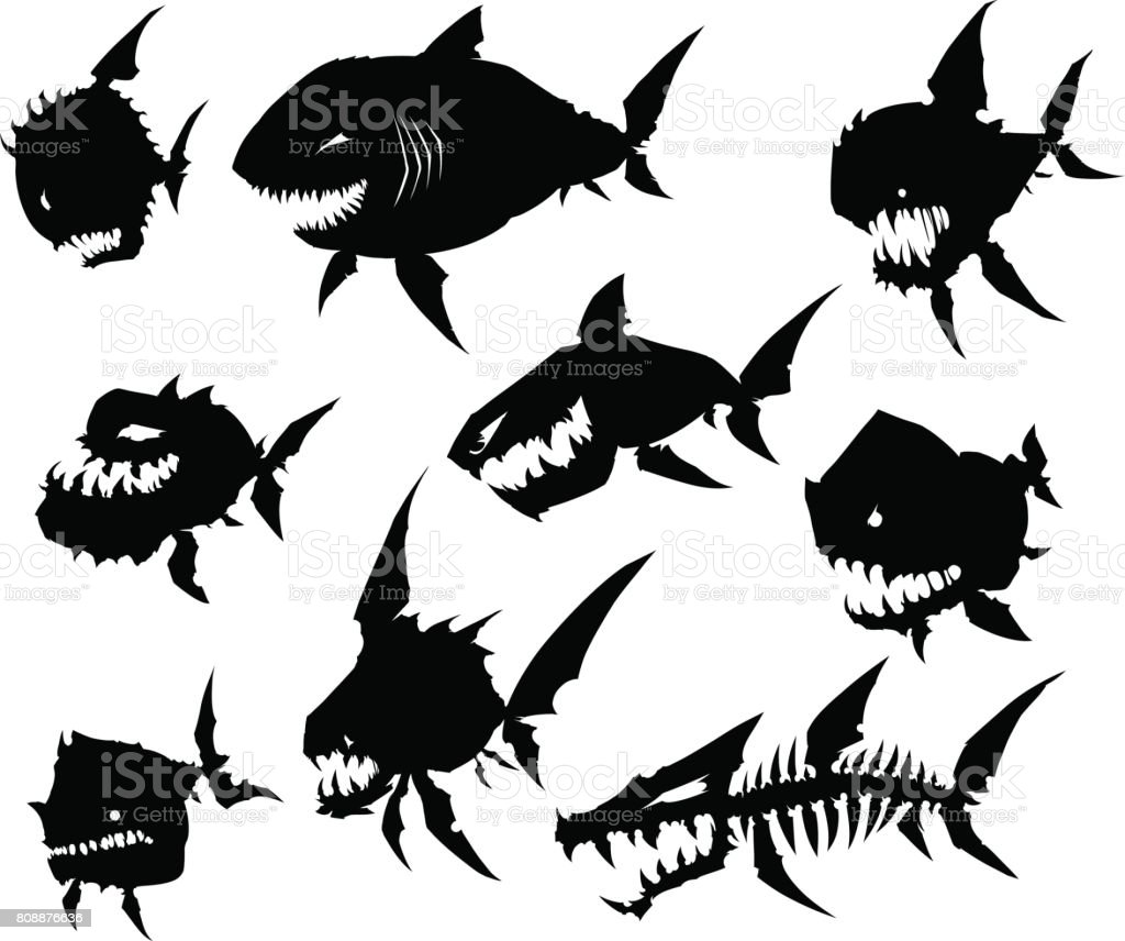 Black graphic silhouette cool monster fish on white background vector art illustration