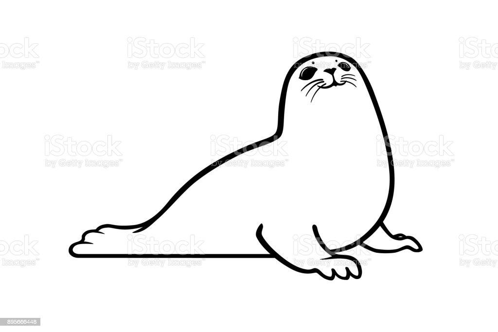 Black Graphic Silhouette Of A Sea Seal Animal Icon Or Symbol