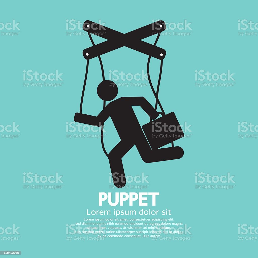 Black Graphic Single Puppet Doll Vector Illustration vector art illustration