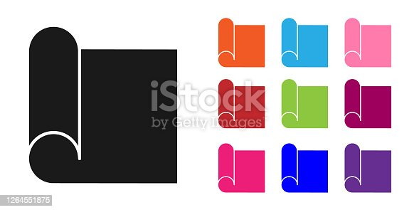 Black Graphing paper for engineering icon isolated on white background. Set icons colorful. Vector Illustration