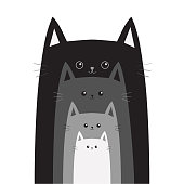 Black gray cat head. Cats in a row. Cute cartoon funny smiling character family set. Different size big small middle. Pet baby collection Card Flat design White background Isolated