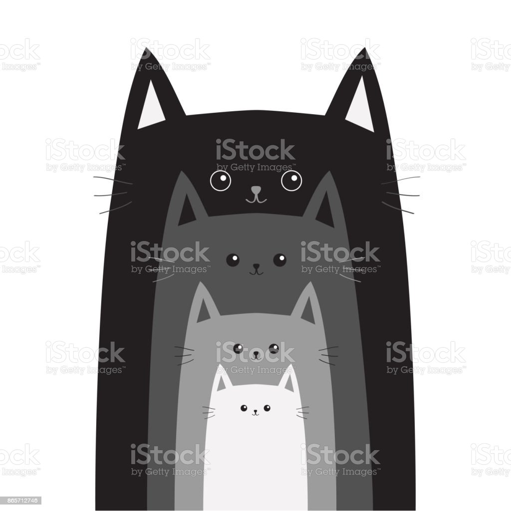 Black gray cat head. Cats in a row. Cute cartoon funny smiling character family set. Different size big small middle. Pet baby collection Card Flat design White background Isolated vector art illustration
