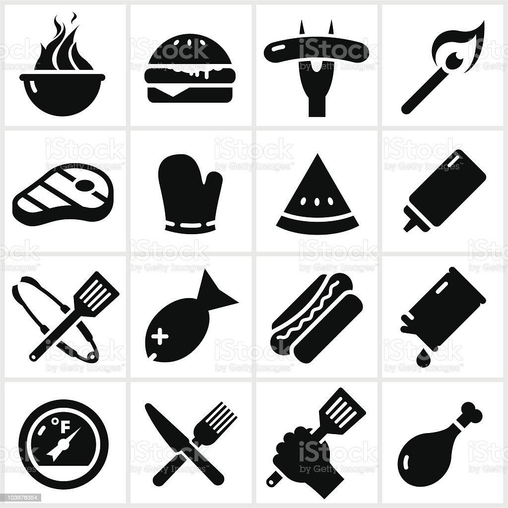 Black Grilling and BBQ Icons royalty-free stock vector art