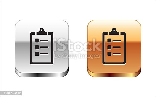 Black Grooming salon price list icon isolated on white background. Silver-gold square button. Vector