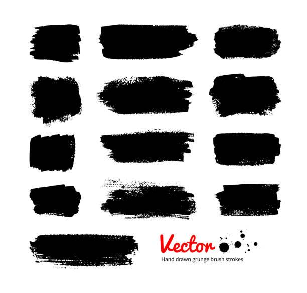 stockillustraties, clipart, cartoons en iconen met black grunge banners. - bevlekt